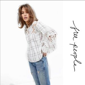 Free People plaid lace puff sleeve top